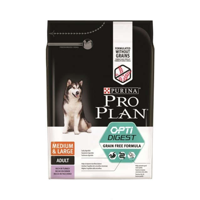 Pro plan dog adult medium / large sensitive digestion grainfree turkey