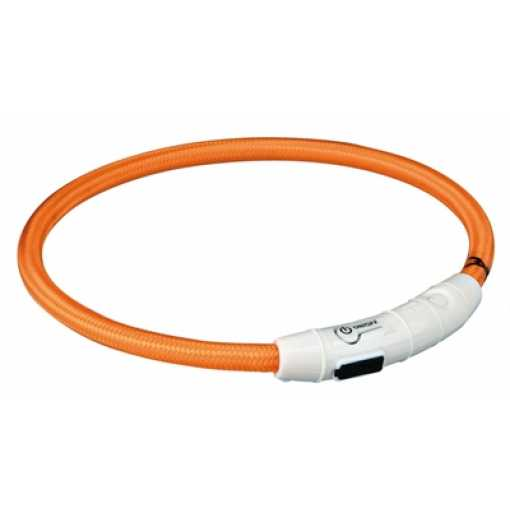 Trixie halsband flash light lichtgevend usb oplaadbaar oranje